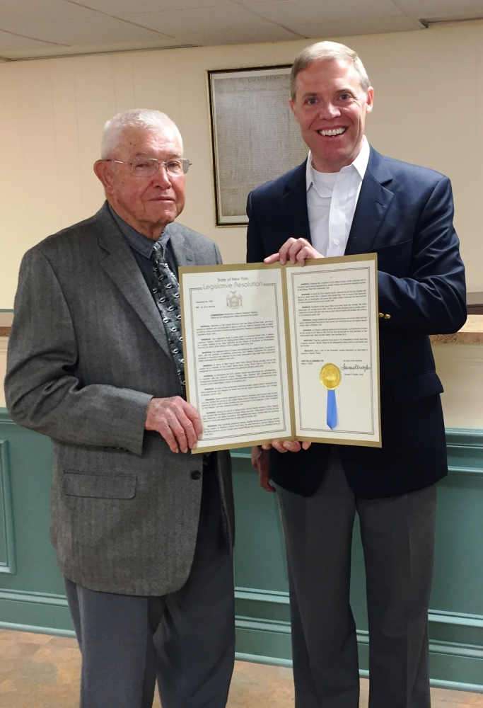 Assemblyman Will Barclay (R,C,I--Pulaski) recently presented WWII Veteran Laurence