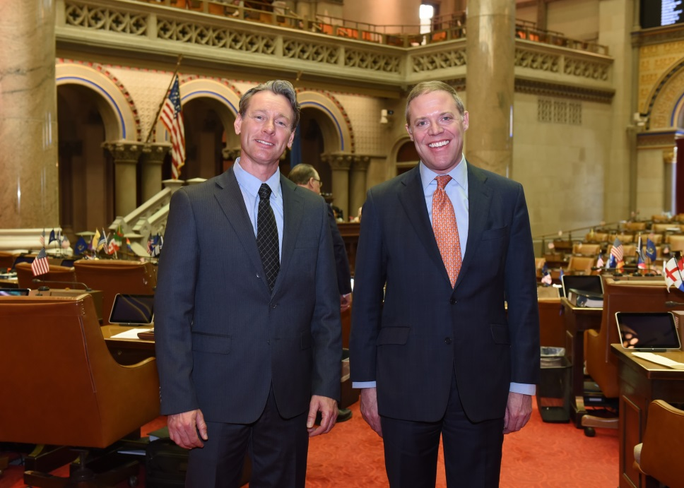 Assemblyman Will Barclay (R,C,I-- Pulaski) greeted Mayor Kenneth Sherman at the Capitol recently in Albany.  Mayor Sherman represents the Village of Central Square.  He visited Albany to tour the Capi