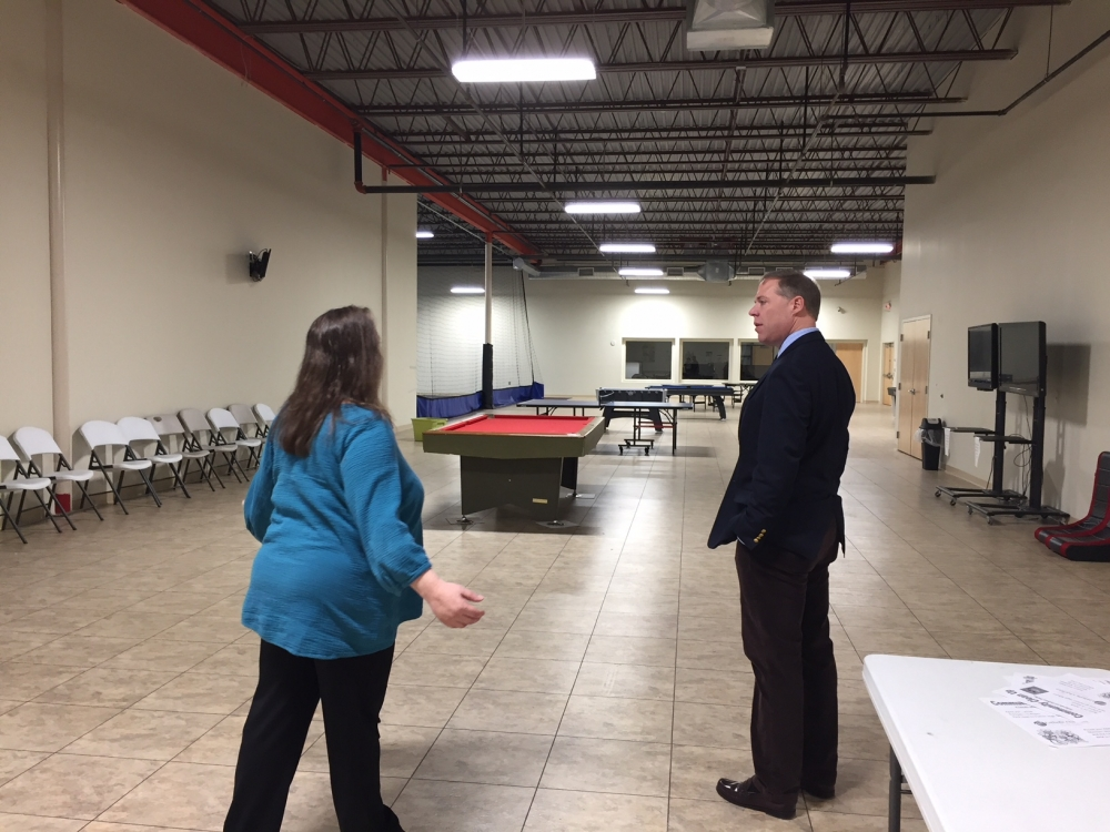 Assemblyman Will Barclay (R,C,I,Ref-Pulaski) recently visited the new Catholic Charities building located on Route 3 in Fulton.  The new facility includes a new, larger gym space for area youth to inc