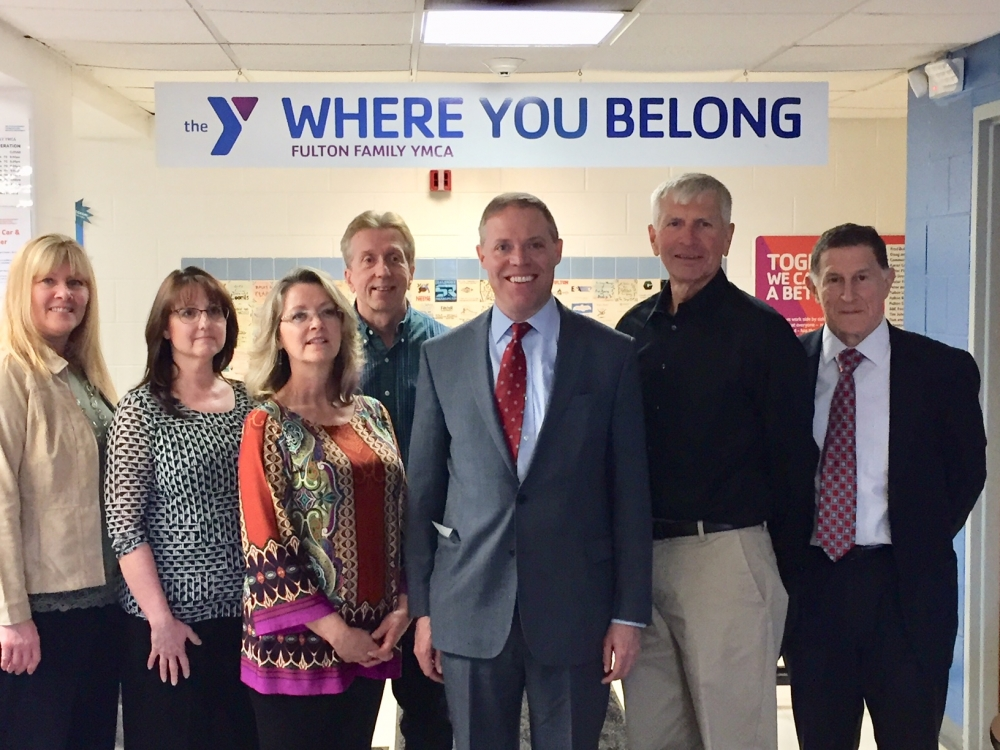 Fulton YMCA Board members and staff recently welcomed Assemblyman Will Barclay (R,C,I,Ref-Pulaski) to the Fulton YMCA.   From left are Board Member Penny Halstead, Business Manager Cheryl Baldwin, Boa