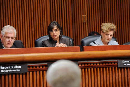October 6, 2011 � Assemblywoman Lupardo questions DEC Commissioner Martens regarding drilling restrictions in floodplains at an Assembly hearing.