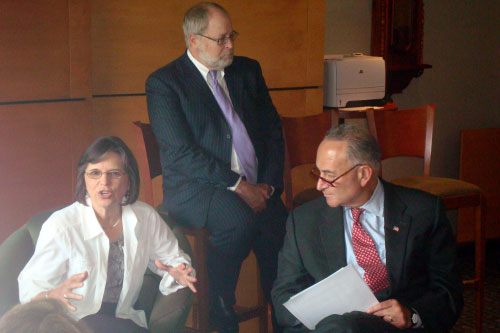 September 12, 2011 � Assemblywoman Donna Lupardo and other officials provide a briefing on the flood to Senator Chuck Schumer.