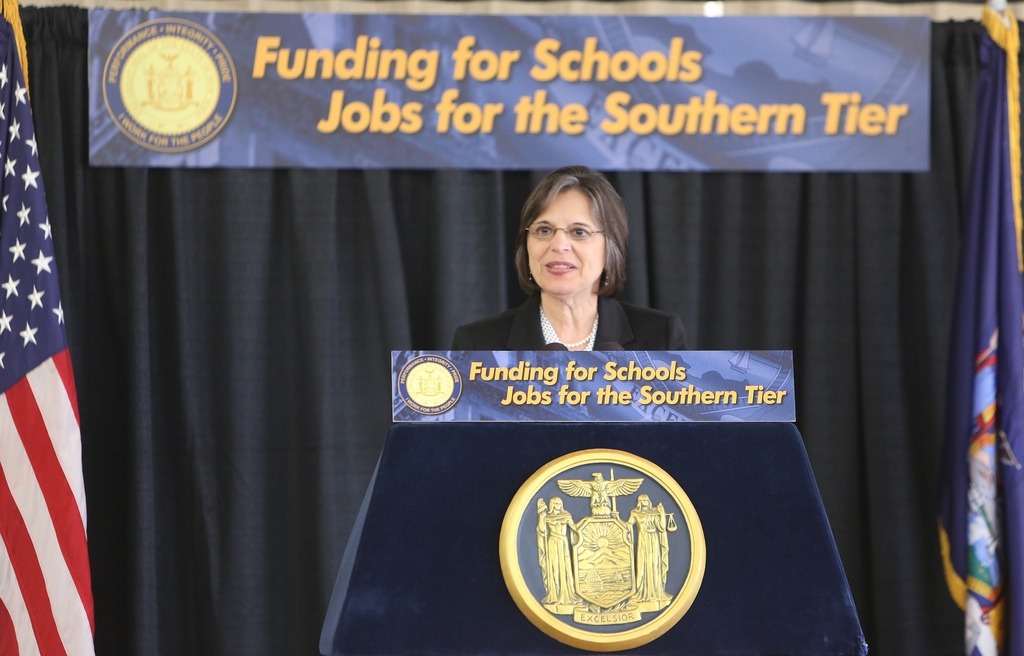 November 6, 2013 – Assemblywoman Donna Lupardo speaks during a news conference regarding the approval of Proposition One on Election Day.