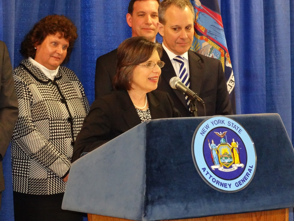 February 21, 2014<br>Assemblywoman Donna Lupardo joins Attorney General Eric Schneiderman in Binghamton to announce details of the Homeowner Protection Program and his plans to combat zombie propertie