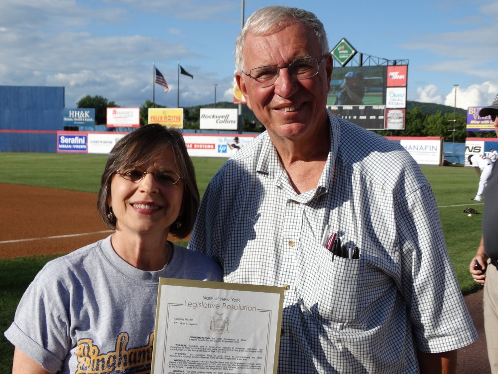 Assemblywoman Lupardo presents a resolution commemorating 100 years of minor league baseball in the Greater Binghamton area to the Binghamton Mets Baseball Booster Club.