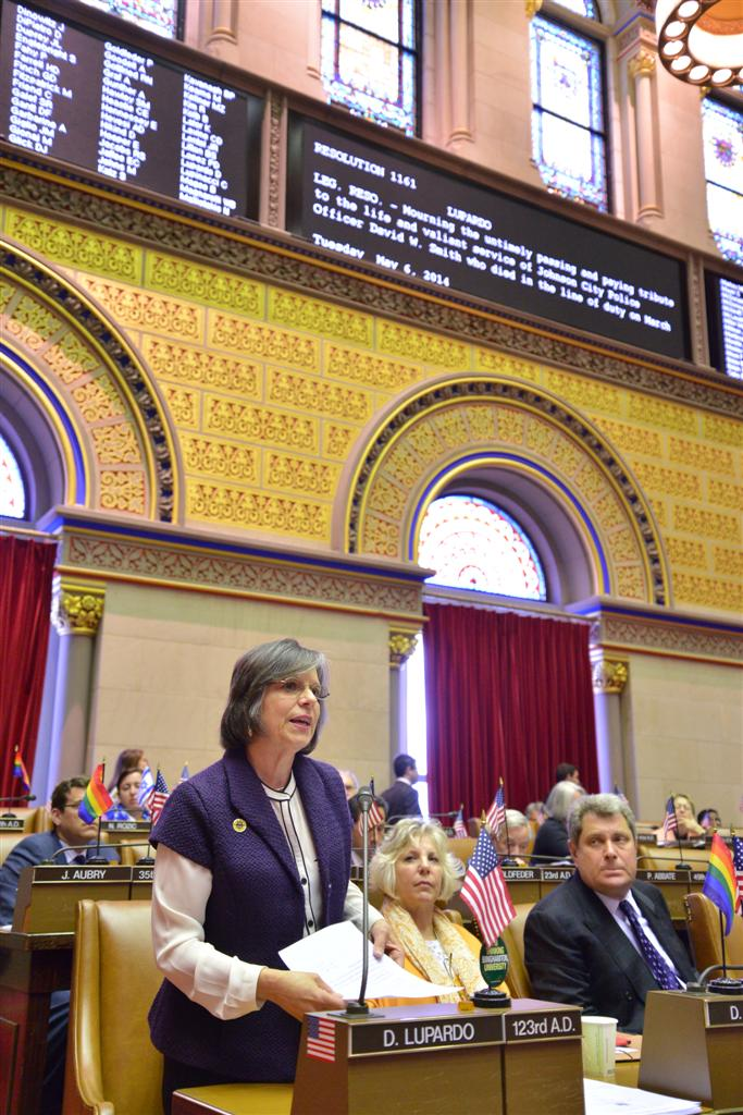 Assemblywoman Lupardo introduces a resolution honoring the life and service of Johnson City Police Officer David W. Smith who was killed in the line of duty on March 31, 2014.