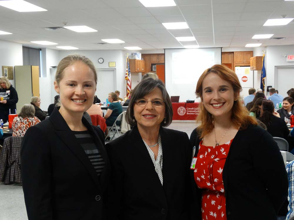 November 7, 2014 � Assemblywoman Donna Lupardo joins Nora Niedzielski-Eichner of NYSAN (left) and Katie Bowers of Cornell Cooperative Extension of Broome County (right) to launch the Expanded Learning