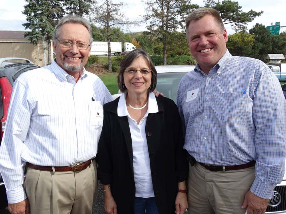 September 29, 2014 � Commissioner of Agriculture & Markets Richard Ball (left) and Deputy Secretary for Food & Agriculture Patrick Hooker (right) join Assemblywoman Lupardo for a tour of Broome County