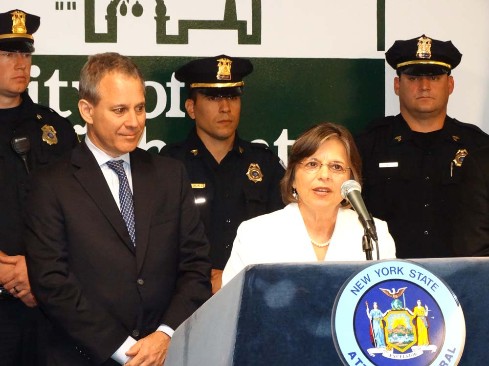 Assemblywoman Lupardo joins Attorney General Eric Schneiderman as he announces funding to purchase new bulletproof vests for local police agencies.