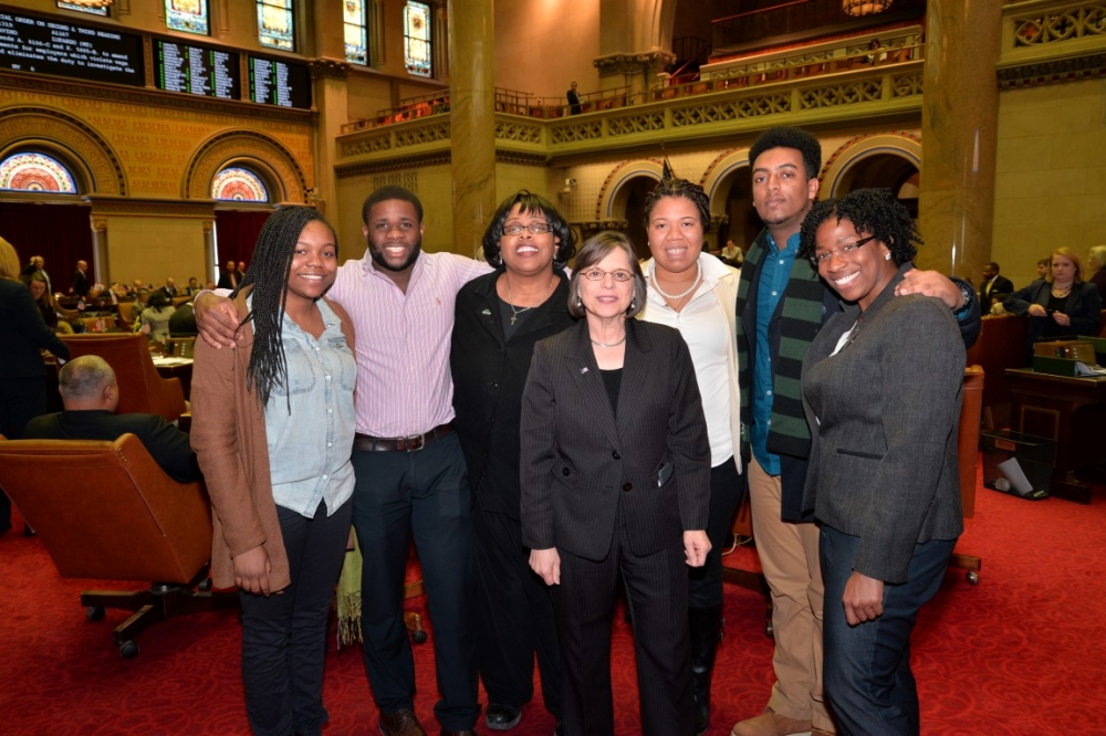 February 23, 2015 � Assemblywoman Lupardo meets with members of Binghamton University�s Educational Opportunity Program in the Assembly chamber.