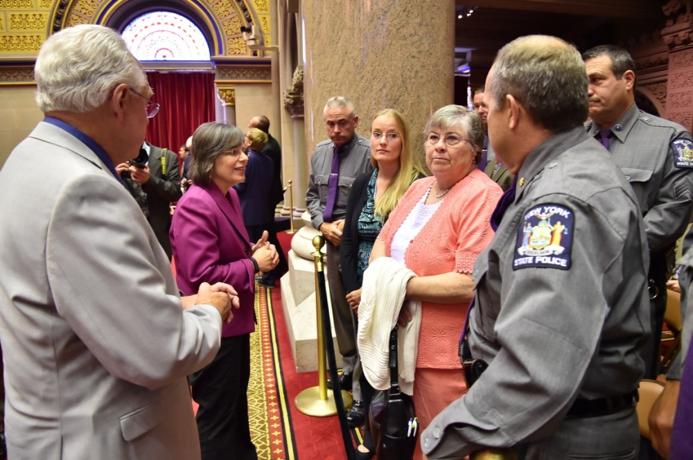 June 2, 2015 � Assemblywoman Lupardo and Assemblyman Clifford Crouch meet with fallen New York State Trooper Christopher Skinner�s fianc�e and mother, and other members of the New York State Police. A
