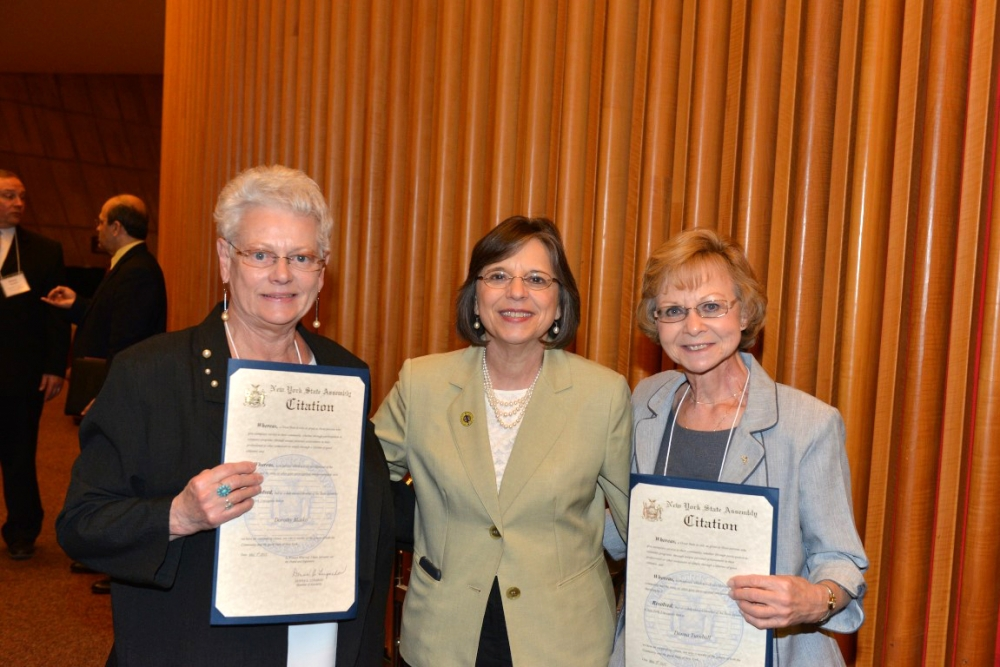 May 5, 2015 � Assemblywoman Lupardo meets with Broome County honorees Dorothy Blasko (left) and Donna Turnbull (right) during New York State Senior Day celebration in Albany.