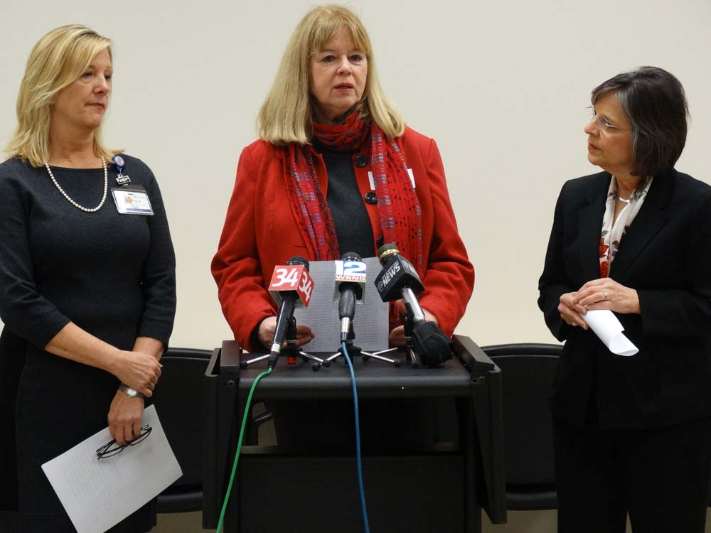 December 21, 2015 – Michele Napolitano, Director of Fairview Recovery Services, speaks about the importance of community programs to combat opioid abuse at a news conference in which Assemblywoman Lup