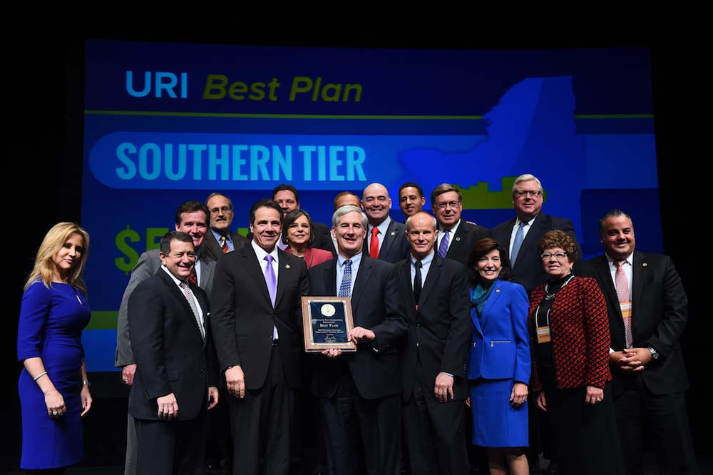 December 10, 2015 – Assemblywoman Lupardo and other representatives from the Southern Tier accept the region's award for the Upstate Revitalization Initiative's best plan. The Southern Tier will recei