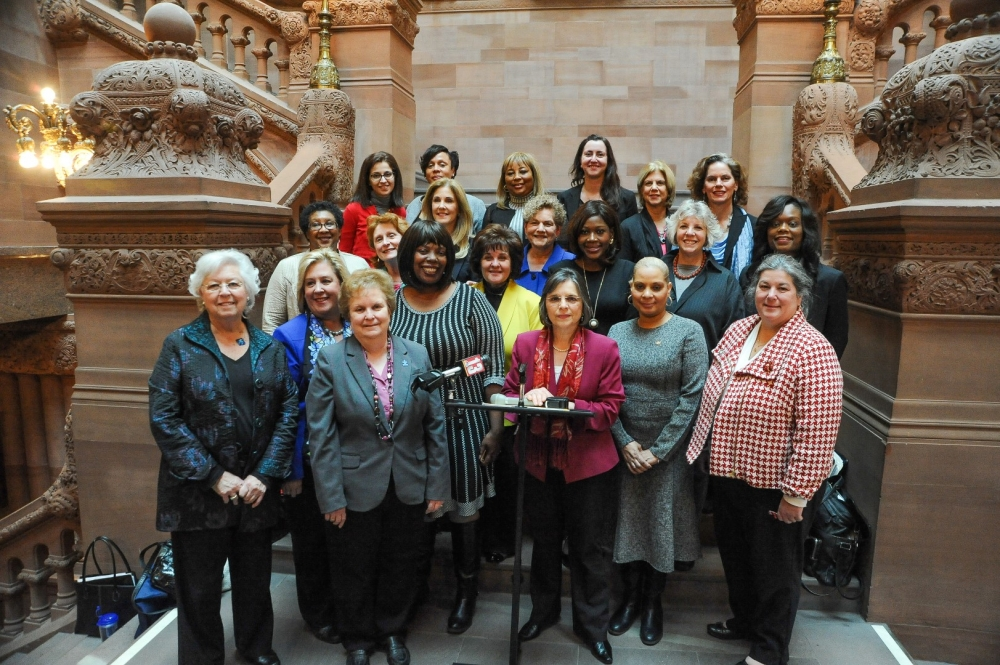 February 8, 2016 – Assemblywoman Lupardo, Chair of the Legislative Women's Caucus, and LWC members gather to discuss the group's priorities for 2016.