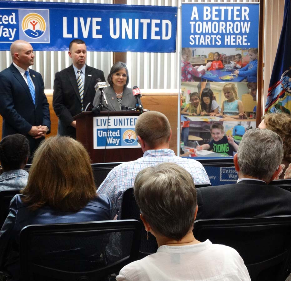 May 26, 2016 � Assemblywoman Lupardo, Senator Fred Akshar, and United Way of Broome County Executive Director Robin Alpaugh discuss new funding for the local Anti-Poverty Task Force.