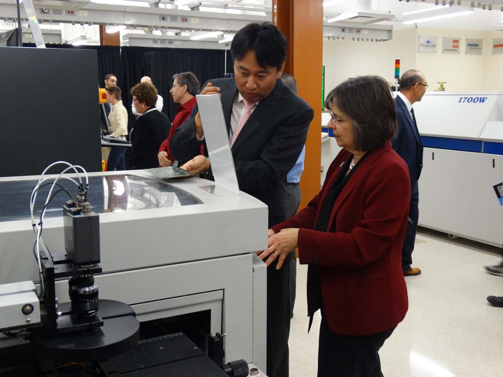 May 19, 2016 � Assemblywoman Lupardo learns about equipment in Binghamton University�s new Smart Electronics Manufacturing Lab during its grand opening ceremony.