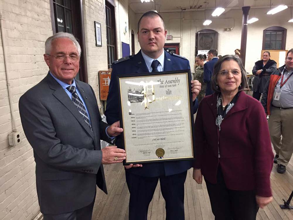 December 1, 2016 – Assemblywoman Lupardo and Assemblyman Cliff Crouch present a New York State Assembly Proclamation to Commander Franklin Birt of NY-292 in honor of the Civil Air Patrol's 75th A