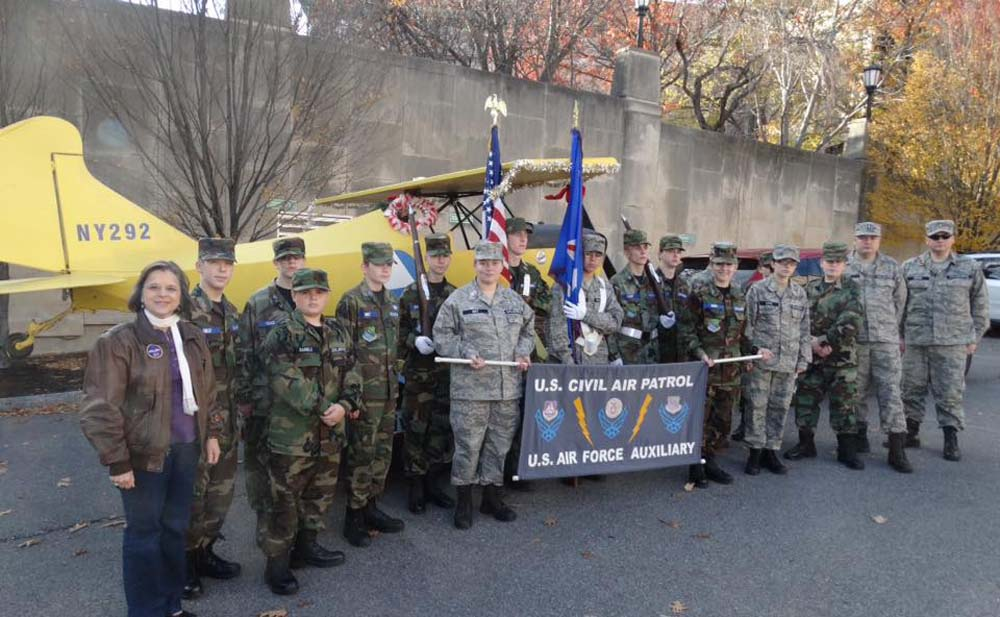 November 19, 2016 – Assemblywoman Lupardo, an honorary Major in the Civil Air Patrol's Legislative Squadron, with NY-292 after marching in the Boscov's Holiday Parade in Binghamton.