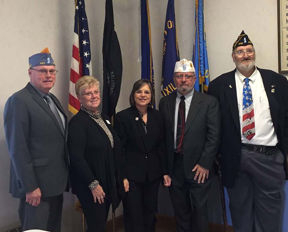 October 25, 2106 – Assemblywoman Lupardo with the Commanders of the New York State American Legion, American Legion Auxiliary, and Sons of the American Legion at Post 1700 in Endicott.