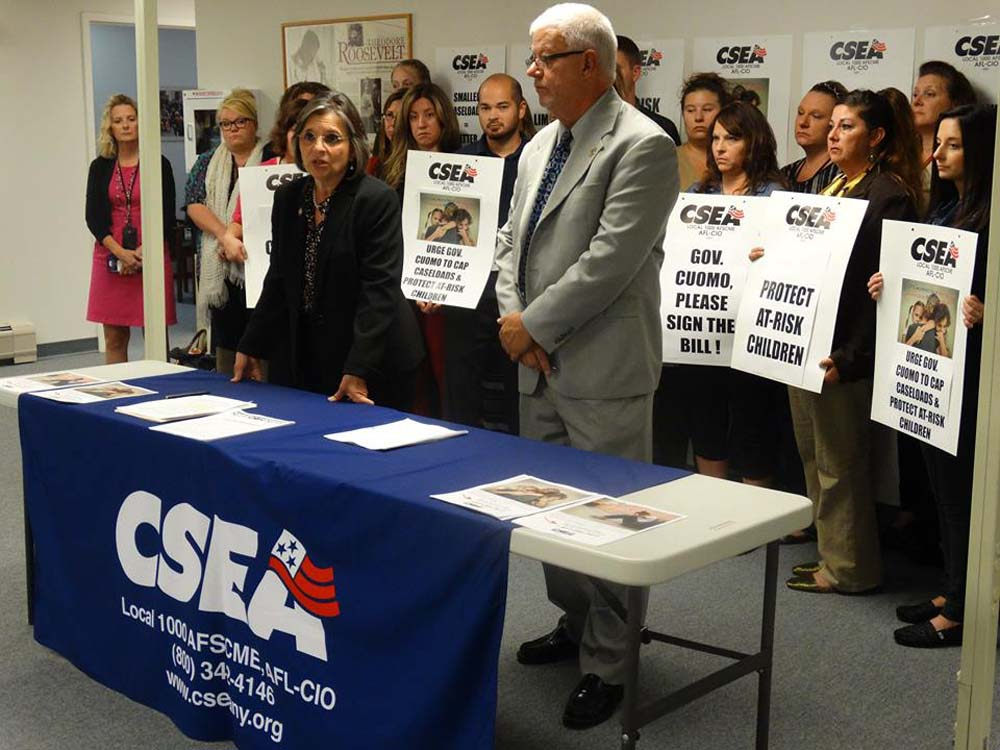 September 27, 2016 – Assemblywoman Lupardo joins CSEA call on the Governor to sign a bill I introduced and passed that would limit the number of caseloads for Child Protective Services workers.