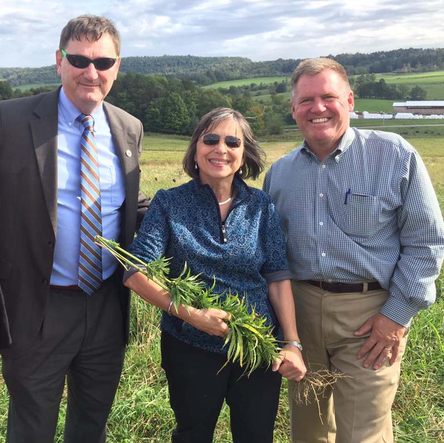 September 26, 2016 – SUNY Morrisville President Dr. David Rogers, Deputy Secretary to the Governor for Agriculture Pat Hooker, and Assemblywoman Lupardo at a tour of the state's first hemp farm a