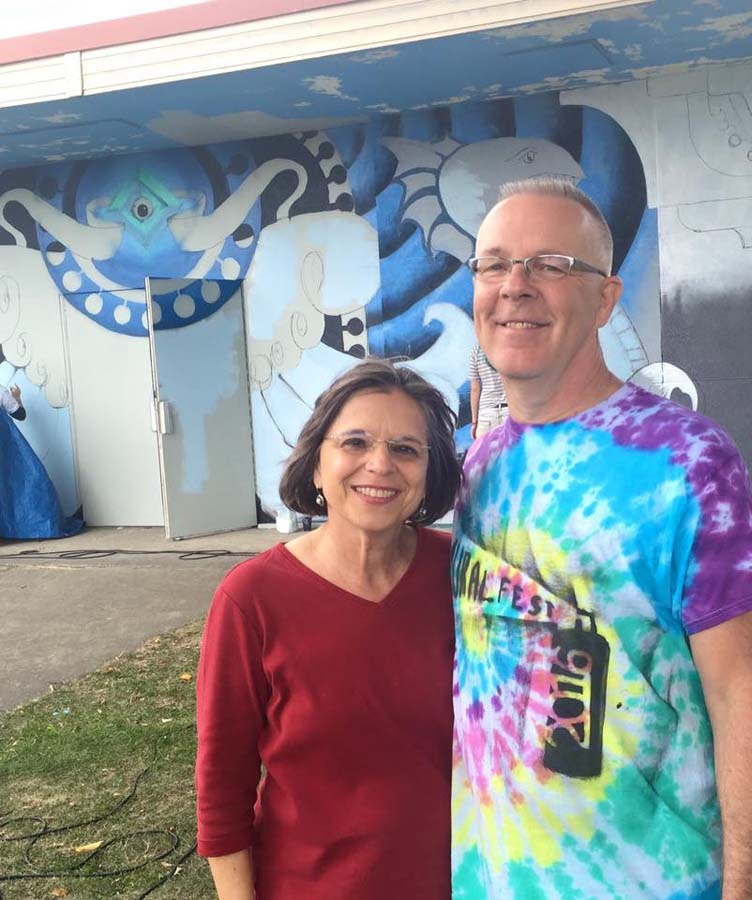September 17, 2016 – Assemblywoman Lupardo with Mark Bowers at Mural Fest in Binghamton.
