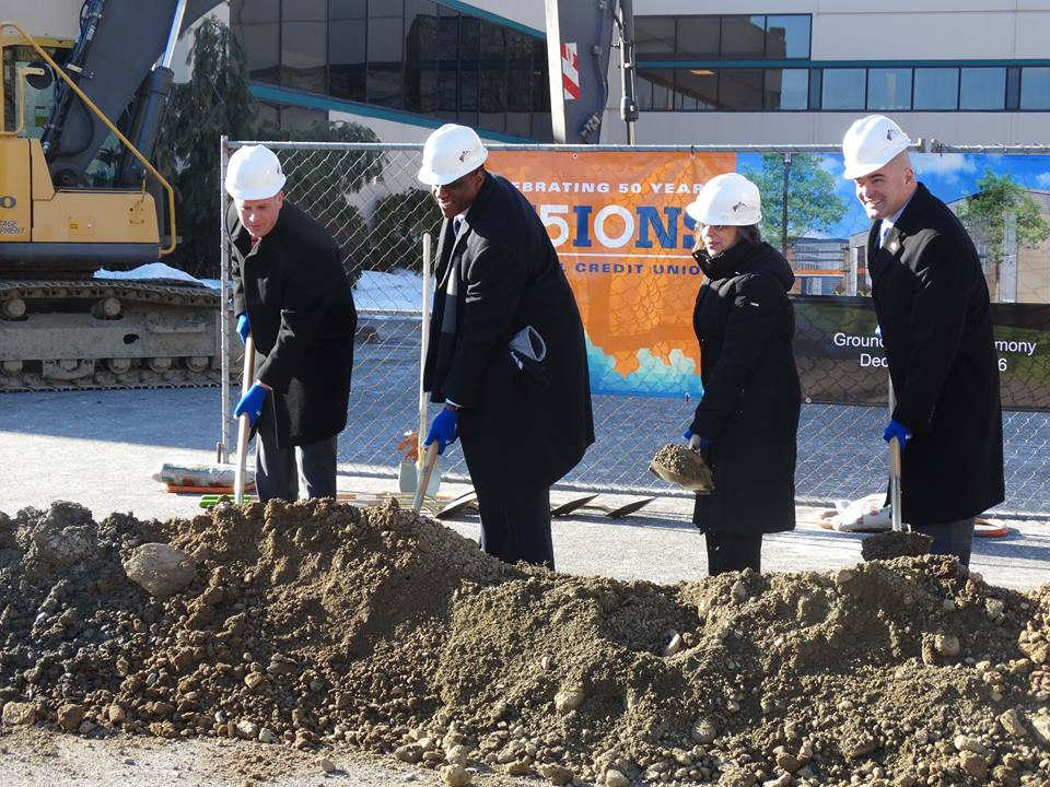 December 20, 2016 – Assemblywoman Donna Lupardo, Visions Federal Credit Union President/CEO Ty Muse, Senator Fred Akshar, and Broome County Executive Jason Garnar help break ground on Visions 91,000 s
