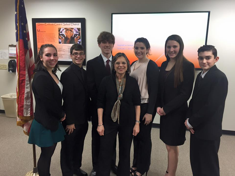 February 1, 2017 – Students from Union-Endicott's Mock Senate meet with Assemblywoman Lupardo after completing their Senate session.
