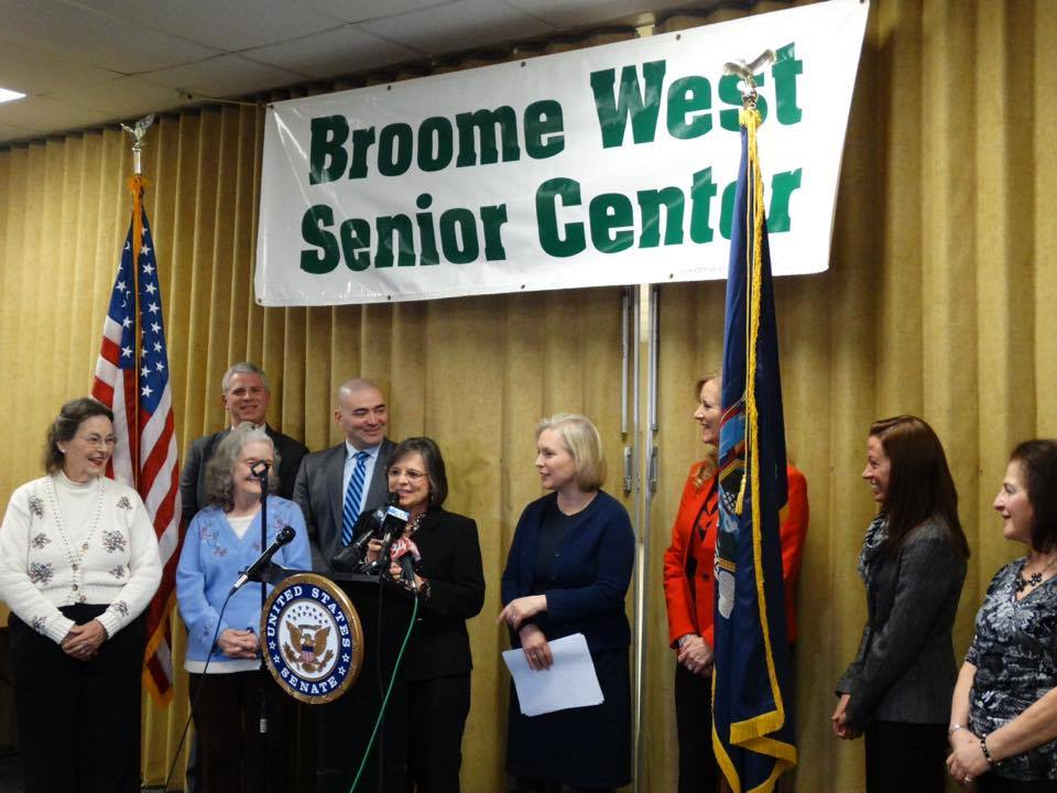 January 13, 2017 – Assemblywoman Lupardo joins Senator Kirsten Gillibrand at the Broome West Senior Center as she detailed her new legislation that aims to protect older residents from financial abuse