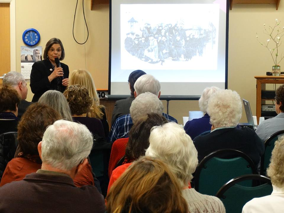 Assemblywoman Lupardo discusses the local women's suffrage movement at the Broome West Senior Center as part of a yearlong celebration of the 100th Anniversary of Women's Suffrage in NYS.