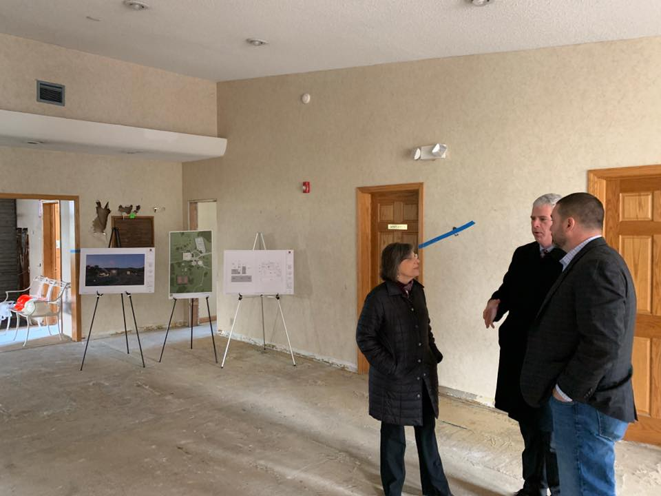 November 25, 2019 – Assemblywoman Donna Lupardo, County Executive Jason Garnar, and Senator Fred Akshar discuss the ongoing renovations at the new Broome County Veterans Resource Center in Vestal