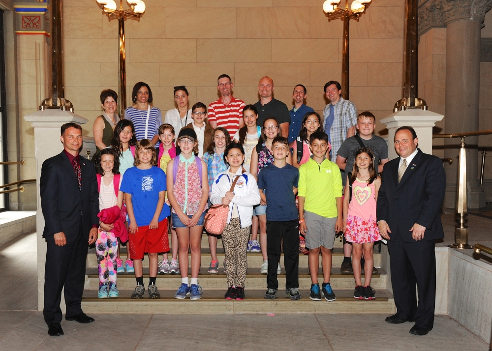Assemblymen Christopher S. Friend (R,C,I-Big Flats) (bottom, left) and Phil Palmesano (R,C,I-Corning) (bottom, right) recently welcomed the Southern Tier Montessori School to the Capitol and the Assem