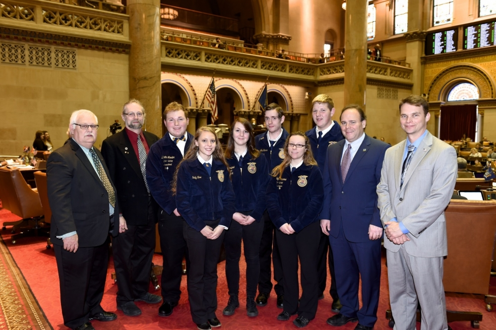 President of the NYS Association of Conservation Districts Dan Farrand and GST BOCES Conservation Instructor and FFA Advisor Dan MacNaughton are pictured on the left. On the right are Assemblyman Phil