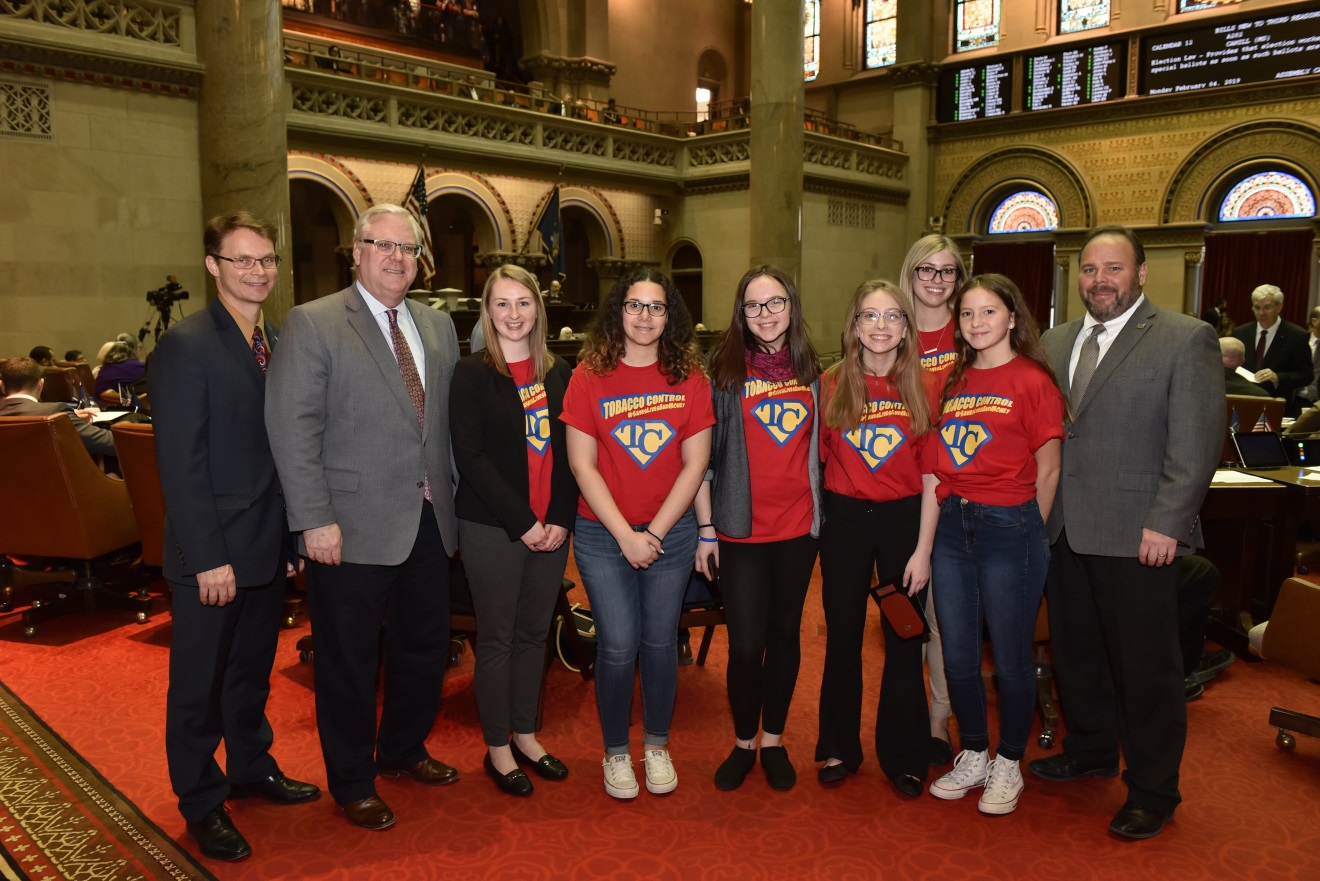 (From left to right: Assemblyman Chris Friend (R,C,I-Big Flats), Sen. Tom O'Mara, Michelle Larimore (STTAC Community Engagement), Trinity Ford, Savannah Ayers, Amber Updike, Samantha White (STTAC