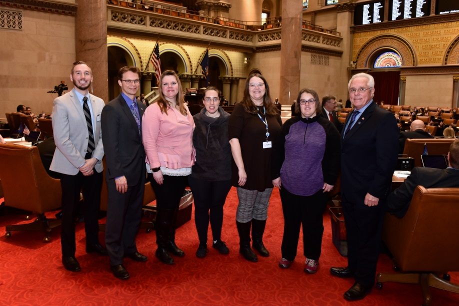 (Left to right) Preston Evans, Assemblyman Christopher S. Friend (R,C,I-Big Flats), Mellisa Ellis, Trisha Peters, Theresa Melnyk, Cameo Clough and Assemblyman Clifford W. Crouch (R-Bainbridge)