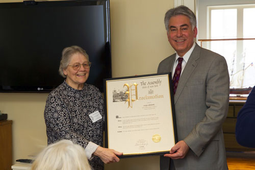 Assemblyman Stirpe honors Woman of Distinction, Georgia Sokowlowski, for her work with the North Area Meals on Wheels.