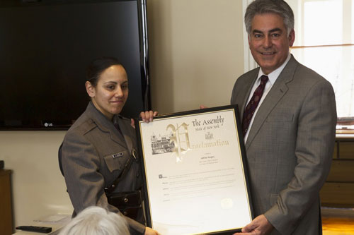 Assemblyman Stirpe honors Woman of Distinction, Trooper Sobrina Vazquez for her commitment to law-enforcement and inner-city youth