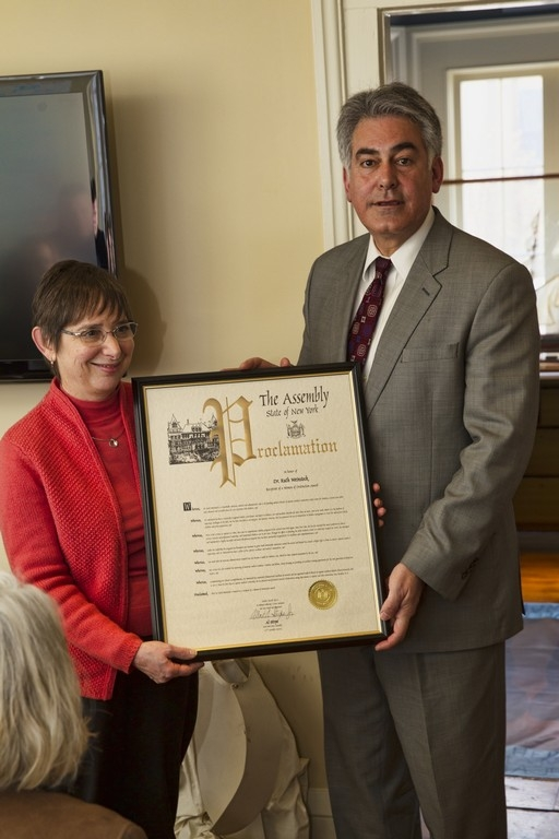 Assemblyman Stirpe honors Woman of Distinction, Dr. Ruth Weinstock for her work as a remarkable clinician, scientist and administrator.