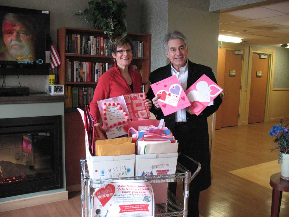 Assemblyman Stirpe handing out valentines at the Syracuse VA Hospital.