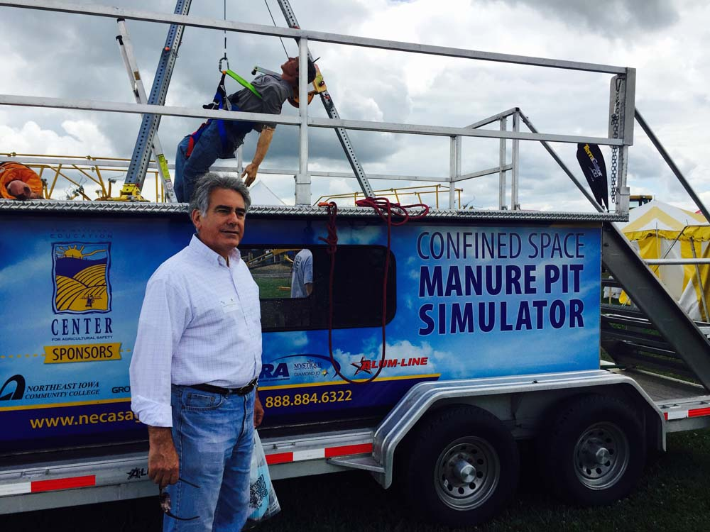 Assemblyman Stirpe visits the Confined Space Manure Pit Simulator, presented by New York Center for Agricultural Medicine and Health.