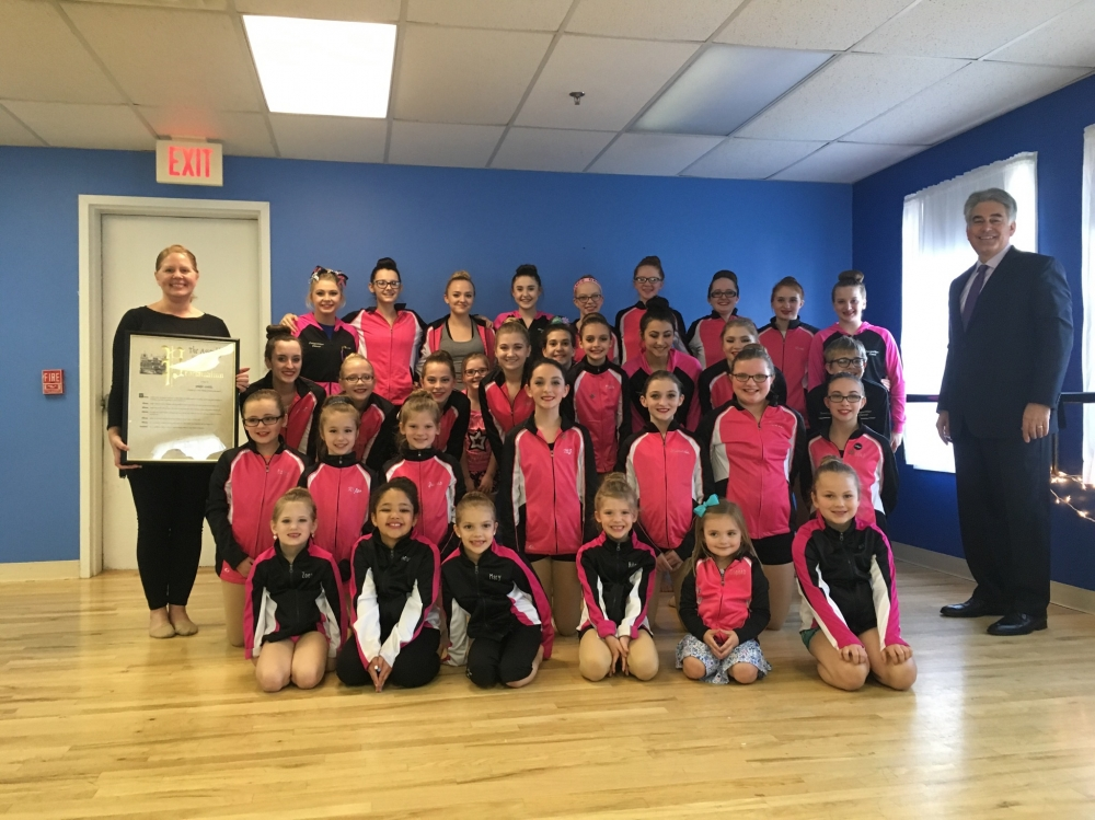 Assemblyman Al Stirpe visited Celebrations Dance Center in North Syracuse to congratulate owner and dance instructor Jennifer