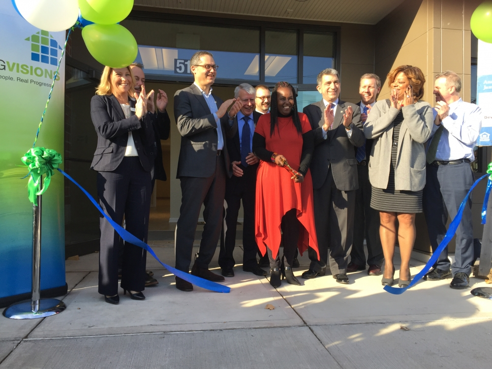 Assemblyman Magnarelli helped to cut the ribbon at the grand opening of the Salina Crossing, a $14.8 million neighborhood revitalization project, built by Housing Visions, on the northside of the City