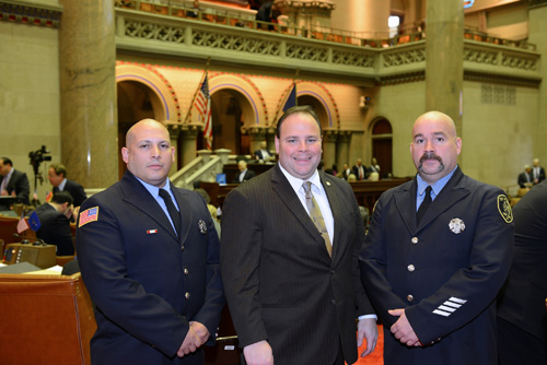 Assemblyman Palmesano flanked by Corning City Firefighters Thomas Margeson (left) and Dean Patterson (right) during proceedings on the Assembly floor.