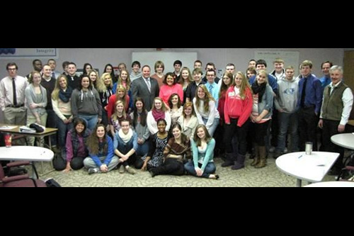 Assemblyman Palmesano with GST BOCES New Visions students during his visit to the Bush Education Center.