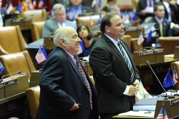 Former Assemblyman Jim Bacalles is introduced by Assemblyman Phil Palmesano on the Assembly Floor.