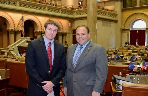 Assemblyman Phil Palmesano (R,C,I-Corning) (right) recently welcomed Andrew Cook (left), a resident of Penn Yan in Yates County, to the NYS Assembly to spend a few days getting a firsthand look at the