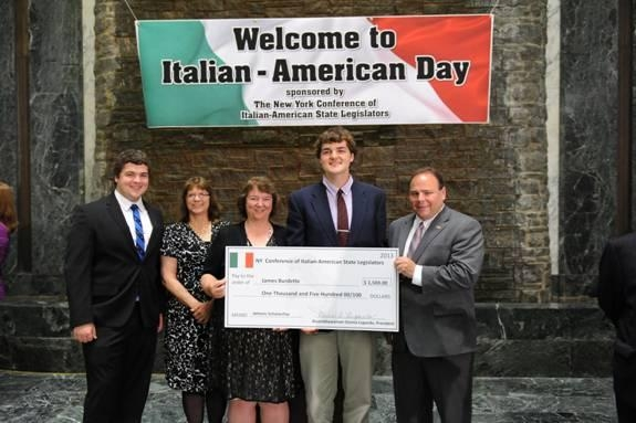 Pictured above from left to right are David Burdette, Mary Ellen Mattison, Martha Burdette, Scholarship winner James Burdette and Assemblyman Palmesano.