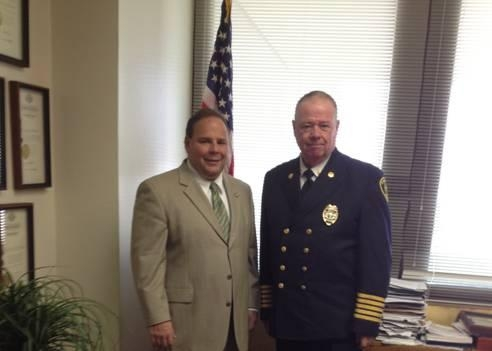 Assemblyman Phil Palmesano (R,C,I-Corning) recently welcomed the City of Corning Fire Chief, John Tighe, to the New York State Assembly.  In June, Tighe was installed as the President of the New York