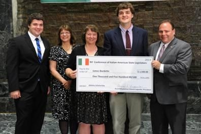 Assemblyman Phil Palmesano presenting last year's Italian-American State Legislators Scholarship to James Burdette, currently a freshman on the SUNY Albany lacrosse team.  Pictured here, from left to